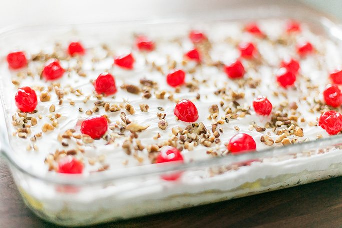 Easy No Bake Banana Split Dessert Recipe! // www.thinkelysian.com
