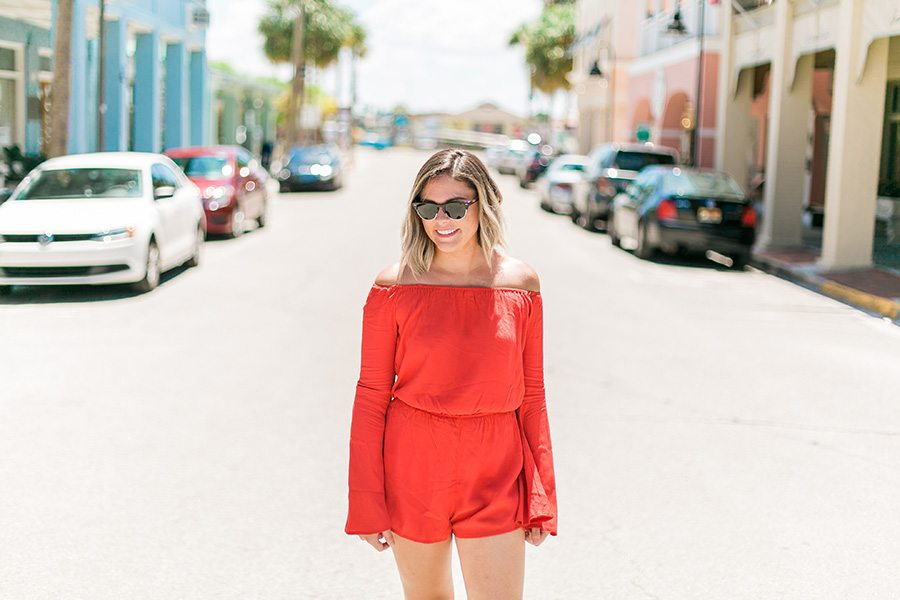 What I wore in St. Pete Beach, Florida: Bright bell sleeve romper // Travel style on thinkelysian.com