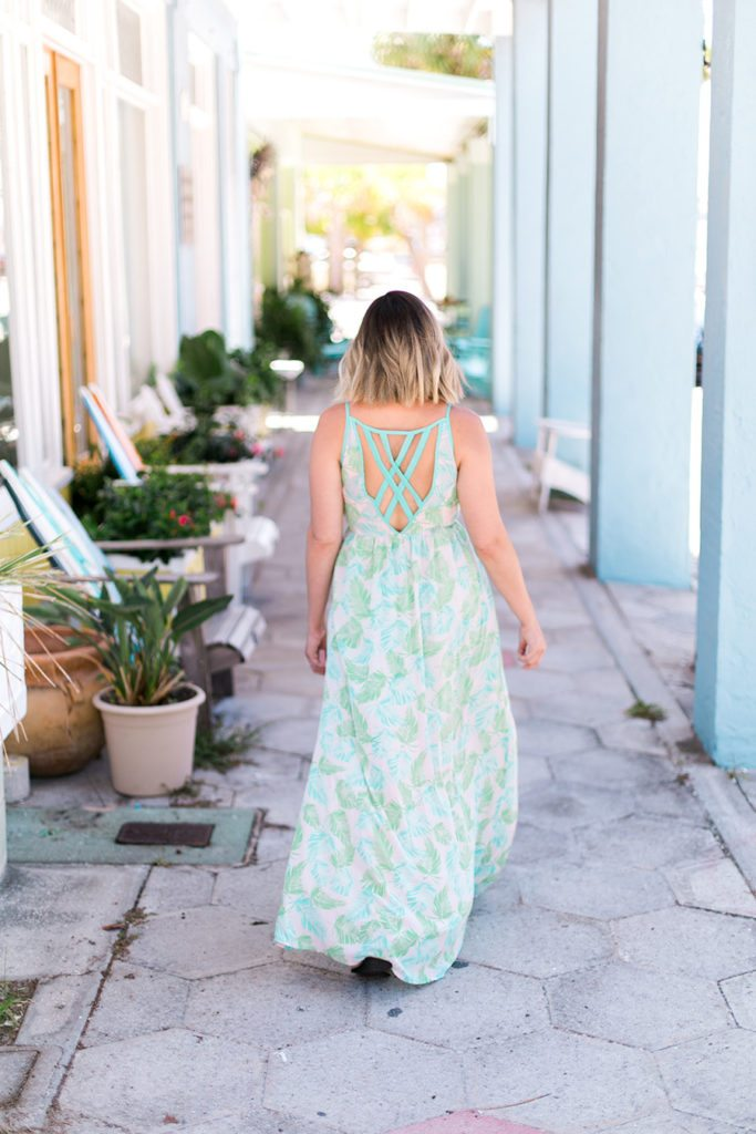 What I wore in St. Pete Beach, FL: Palm Print Backless Maxi Dress // travel style on thinkelysian.com